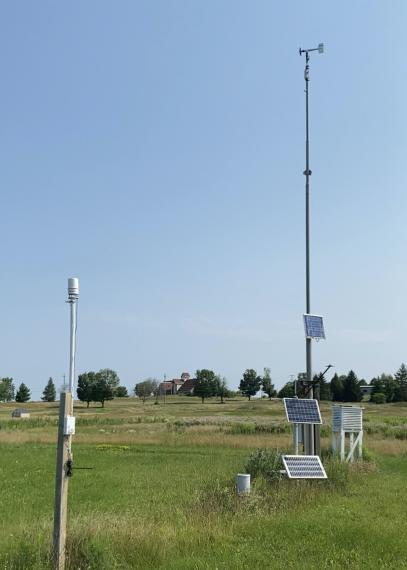A photo of the weather station